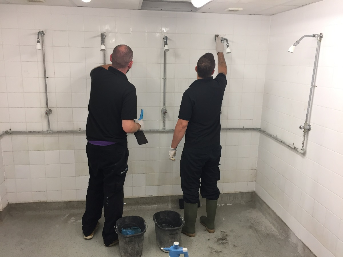 Grubby Ceramic Tiles During Cleaning at Bishop Stortford Changing Rooms