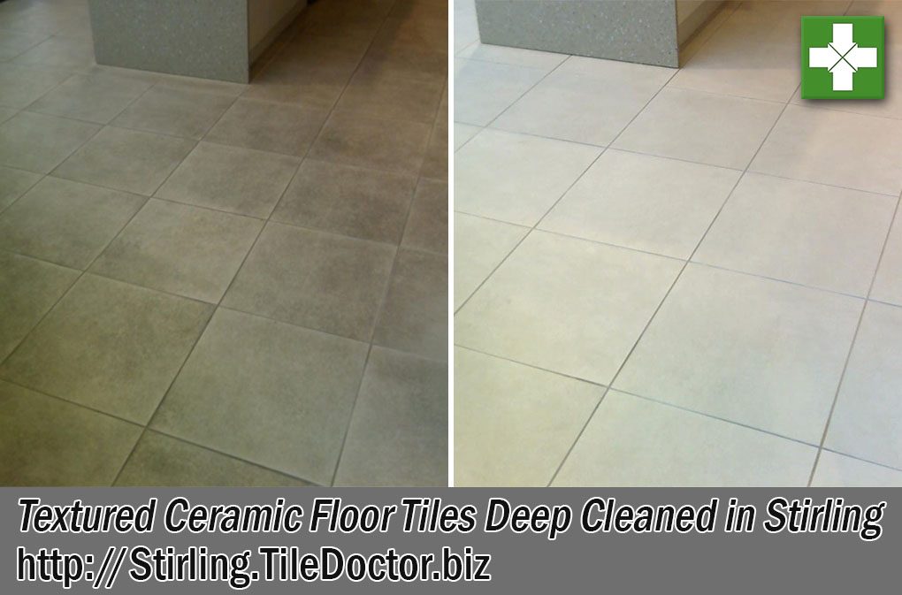 Textured Ceramic Shop Floor Tiles Before After Cleaning Stirling